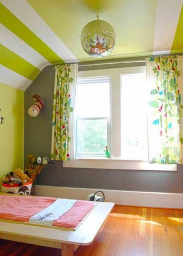 kinderzimmer farben wandfarbe dekorative decke grün weiße streifen - wandfarben kinderzimmer