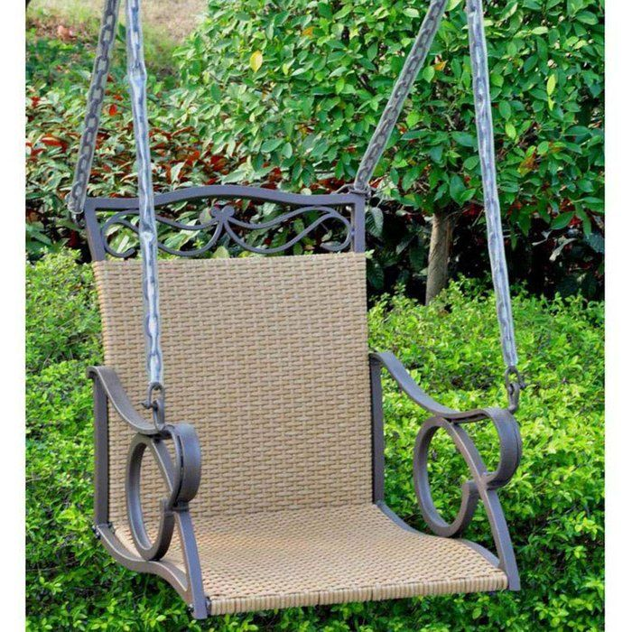 Valencia single chair swing made from a flat resin wicker for Single swing patio door