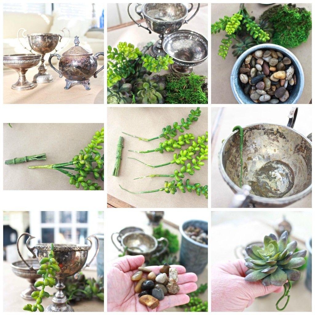 succulents in vintage silver sugar bowls | vintage silver, garden