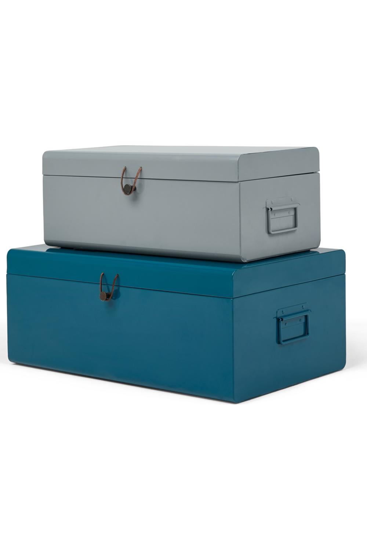 Daven Set Of 2 Metal Storage Box Trunks Teal Grey Teal Grey