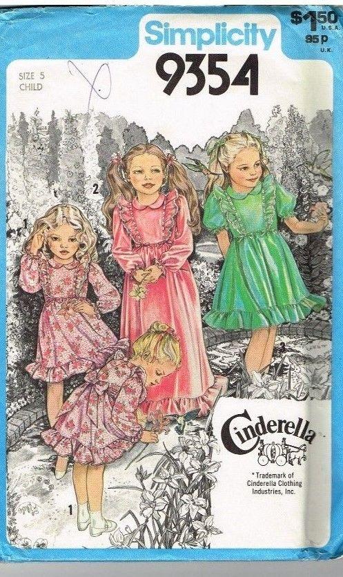 Vintage Pattern Simplicity 9354 Girls Dress Cinderella Size 5 Uncut ...