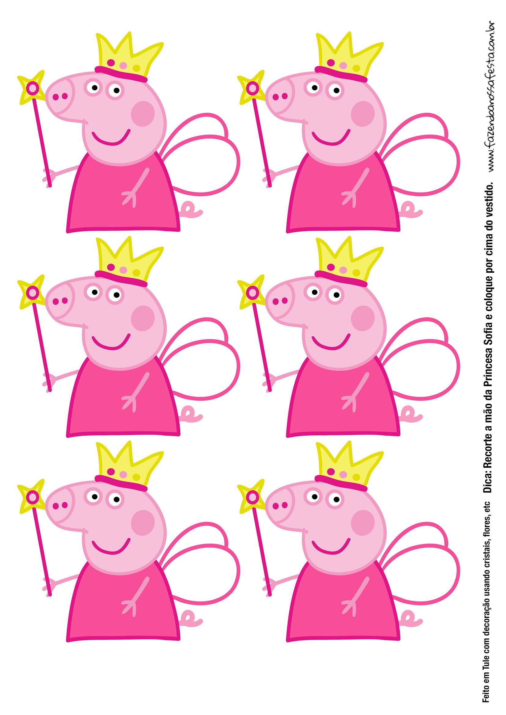 Molde Peppa Pig Princesa para Tubete com Tule - Fazendo a Nossa Festa