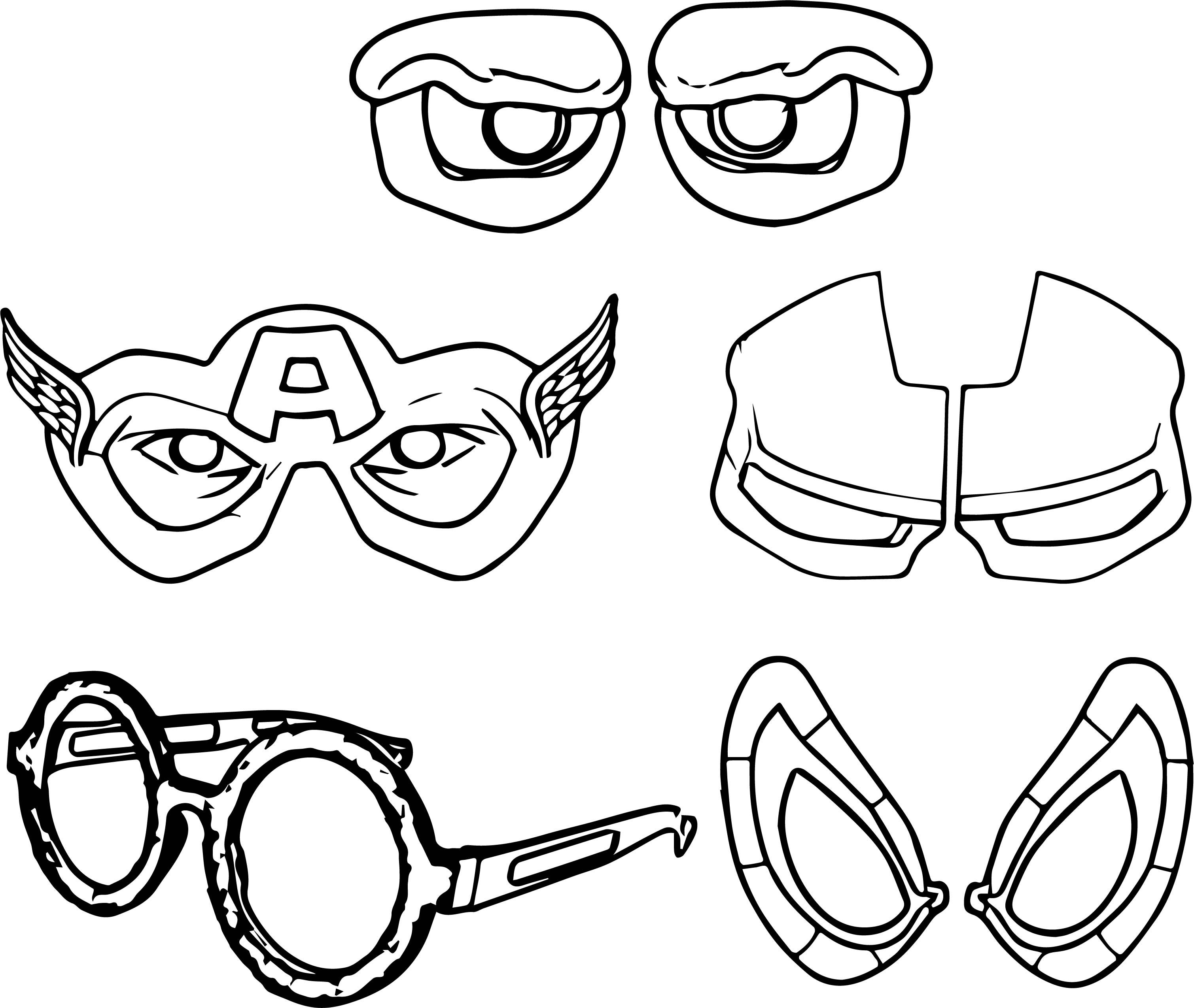 Avengers Eye Mask Coloring Page