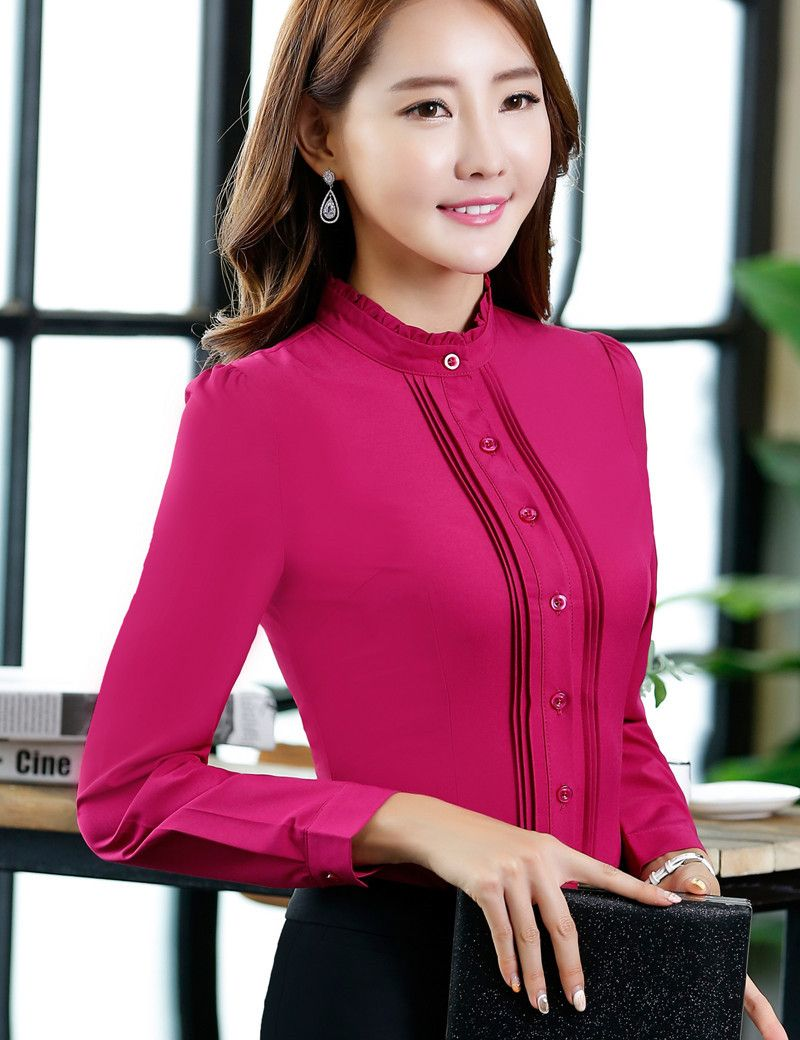 f062a6563e7 Clothes Female Office Shirt 2016 Autumn Blouse Long Sleeve Stand Collar  Fold Button Design Fashion Big Size S-3XL Ladies Blouses