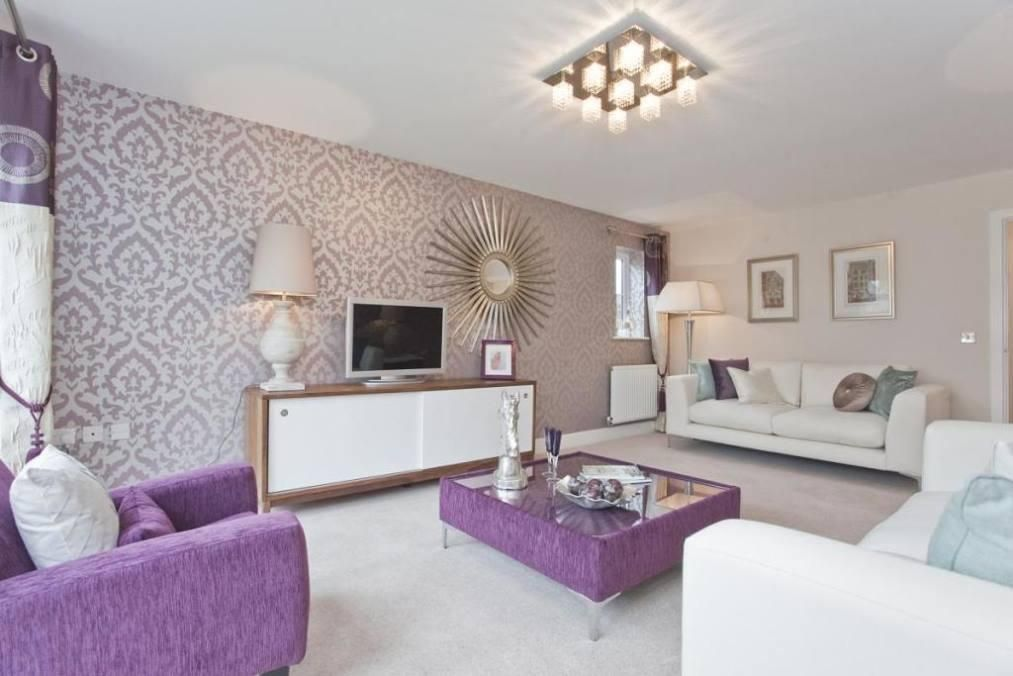 Living Room Purple Wallpaper Feature Wall