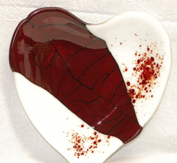 Fused Glass Valentines Heart Candy Dish  289 by MAIStuffStudio, $65.00