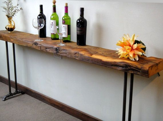 narrow console table, reclaimed wood table, accent table, long sofa