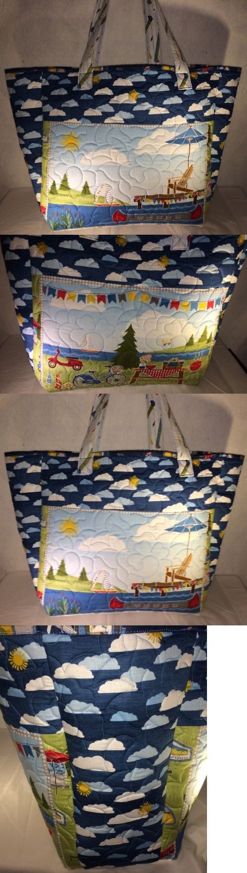 aeaa9d8a1 Other Handcrafted Pieces 57738: Larger Quilted Tote Market Bag Handmade Let  S Go Glamping Wilmington Fabric -> BUY IT NOW ONLY: $70.39 on #eBay #other  ...