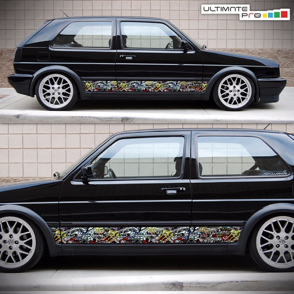Side sticker bomb decal vinyl for volkswagen vw golf gti mk 2 3 83 98 headlight ultimateprocy1