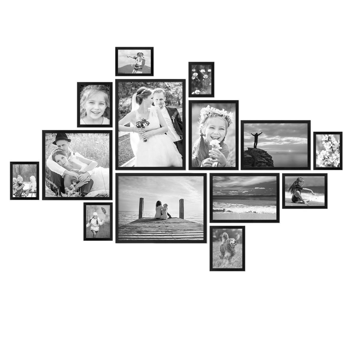14 Piece Picture Frame Set Modern Black Made Of Mdf 10x15 To 30x40 Cm Picture Gallery Picture Wall Pi In 2020 Gallery Wall Layout Picture Collage Wall Wall Collage