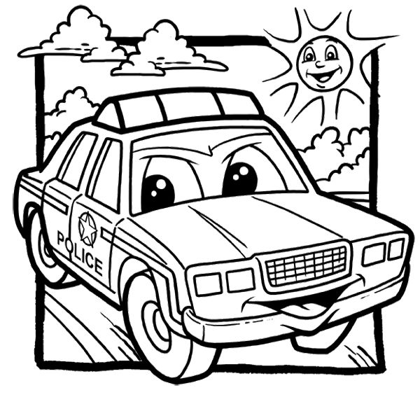 Cartoon Police Car Coloring Page Police Car Car Coloring Pages