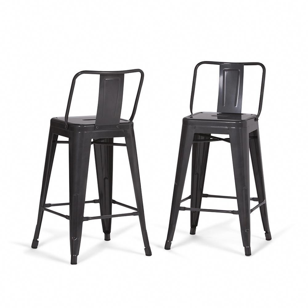 Rayne 24 Inch Metal Counter Height Stool Set Of 2 Metal Bar Stools Metal Counter Stools Counter Height Stools