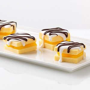 Trim rounded edges from cake; discard trimmings or reserve for snacking. Cut cake into 24 (1/4-inch-thick) slices.