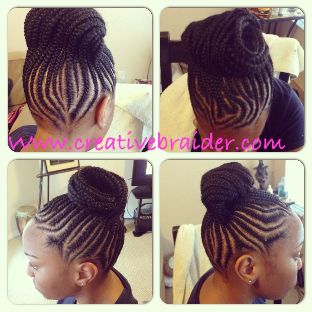 cornrows braided into a bun #braids #naturalhair #protectivestyles