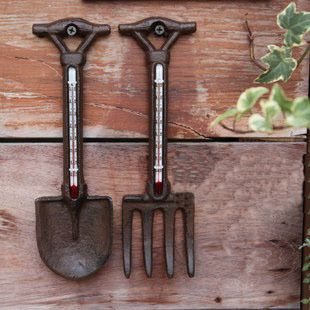 Great Decorative Cast Iron Shovel And Rake Thermometers For The Home And Garden.