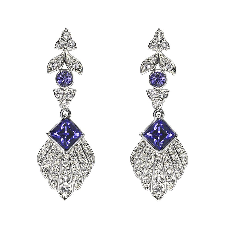 7619bde3e Cristalina Art Deco Feather Purple Velvet Swarovski Crystal Drop Earrings