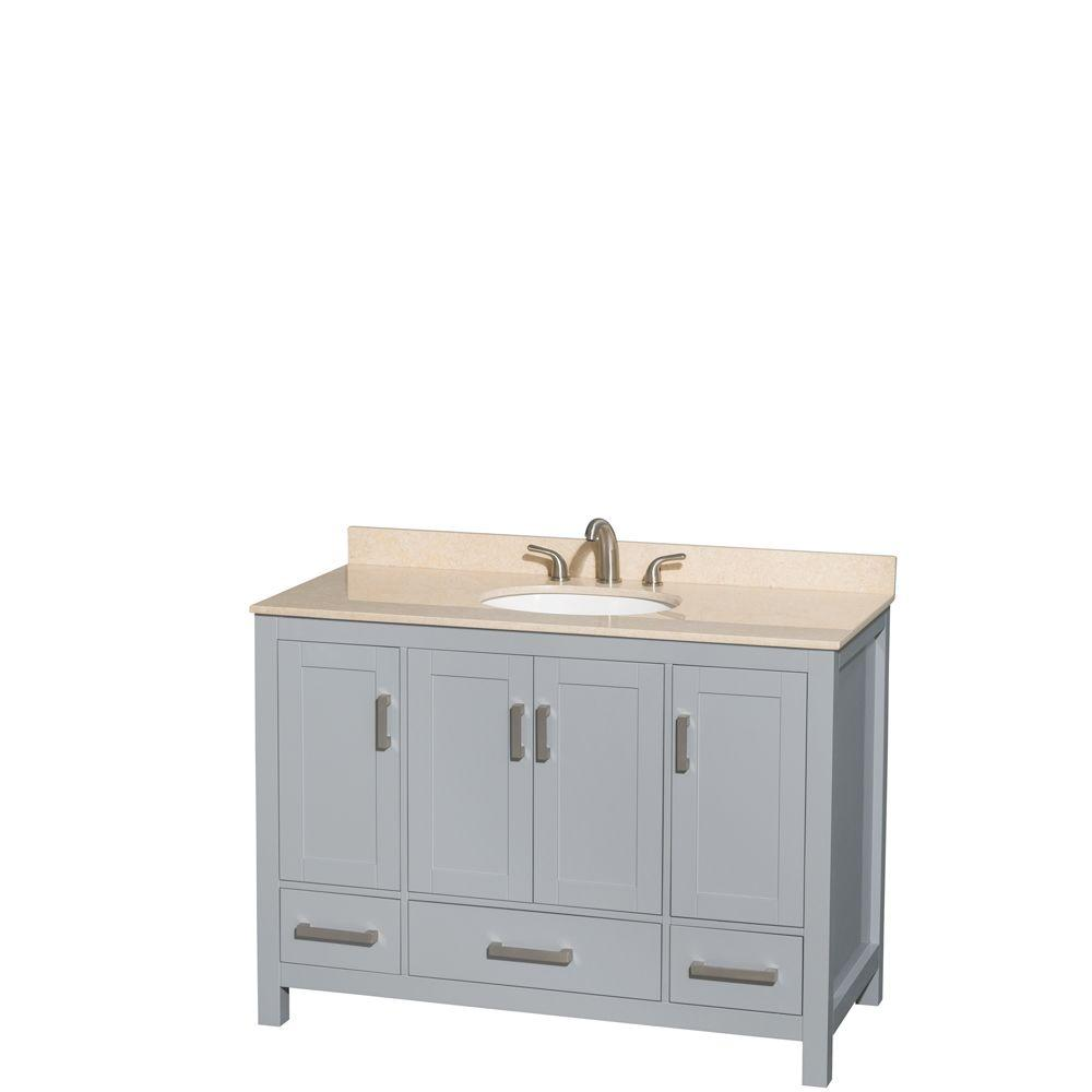 Wyndham Collection Sheffield 48 in. W x 22 in. D Vanity in Gray with Marble Vanity Top in Ivory with White Basin