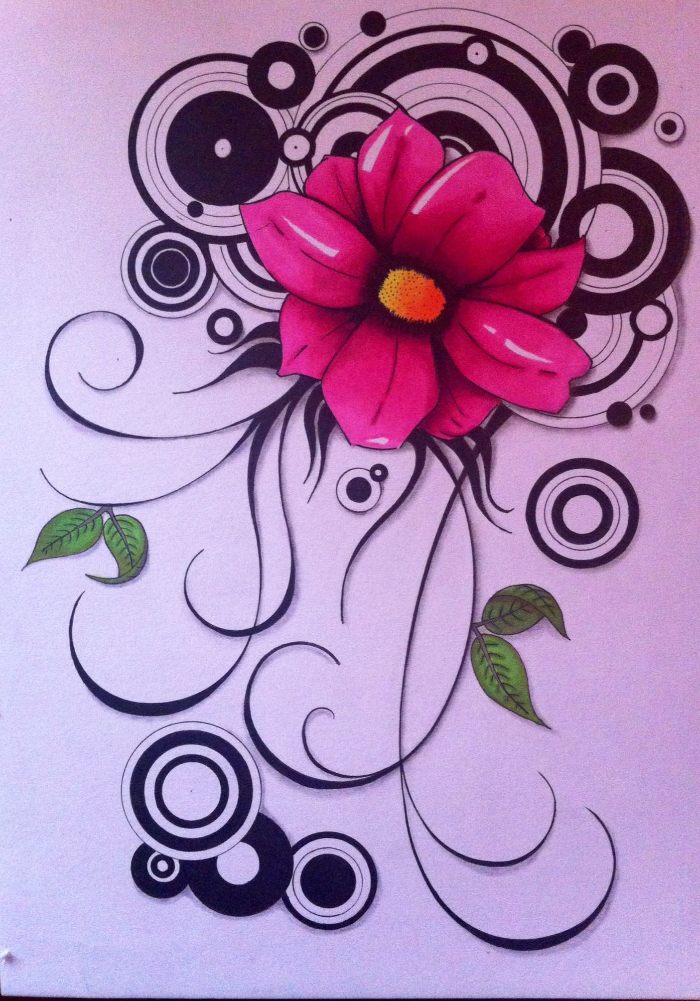 Drawing of a retro flower on a2 size paper used materials canson drawing of a retro flower on a2 size paper used materials canson paper copic multi liner pencil promarkers mightylinksfo