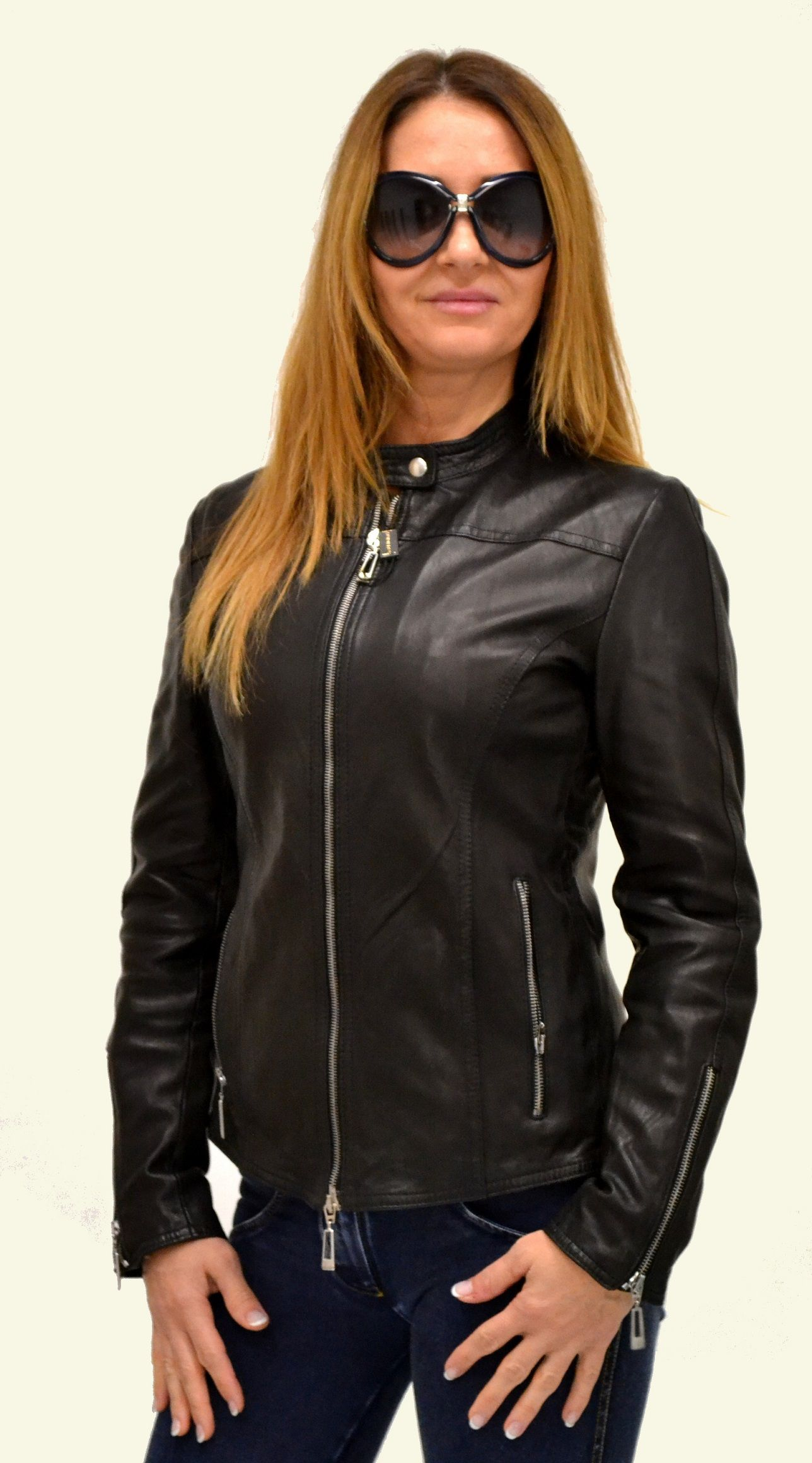the latest aad33 02f57 Woman leather jacket silver zip Giubbino nappa con zip ...