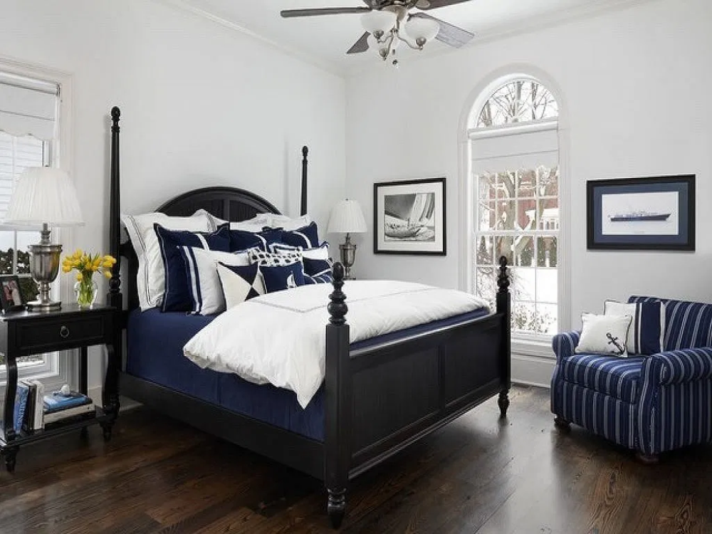 70 Navy And White Bedroom Ideas 73 in 2020 White bedroom
