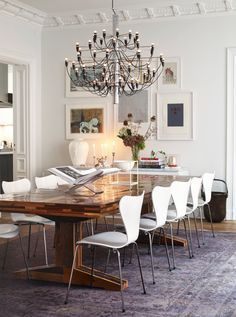 Farmhouse Table With Navy Modern Chairs Google Search Modern Dining Dining Room Inspiration Dining Room Decor