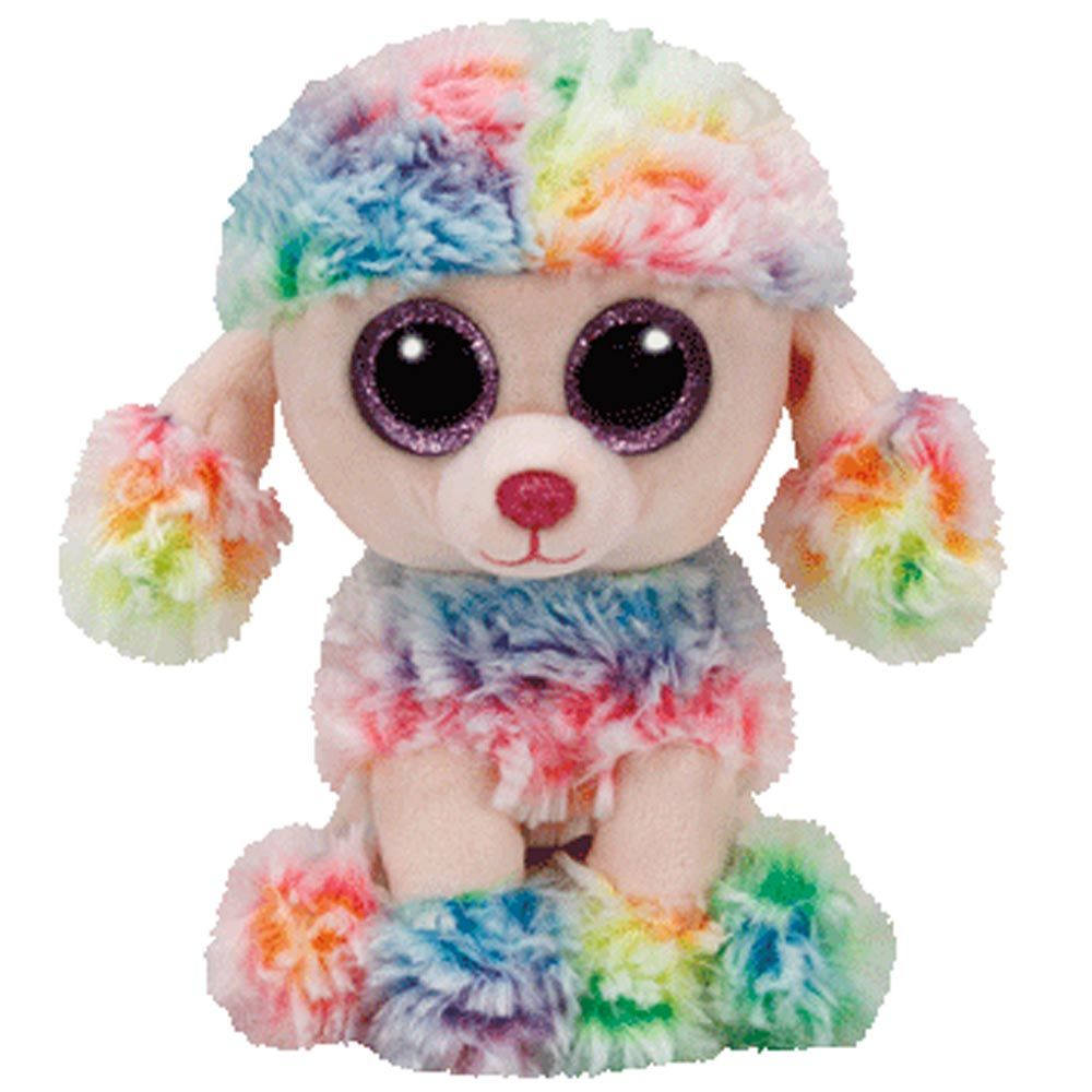 a9197dae819 TY Beanie Boos Rainbow Poodle Soft Toy with Organza Pull String Bag