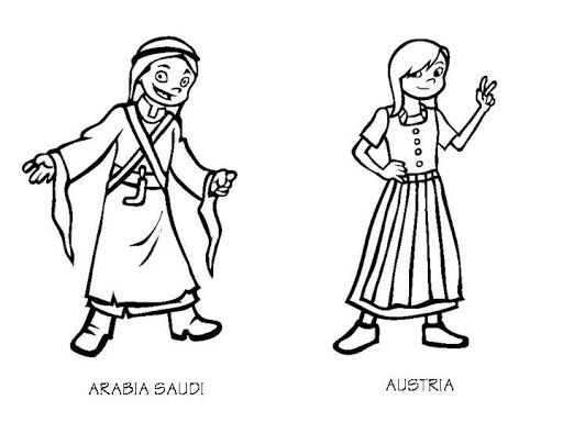 costume of countries saudi arabia and austria free coloring pages