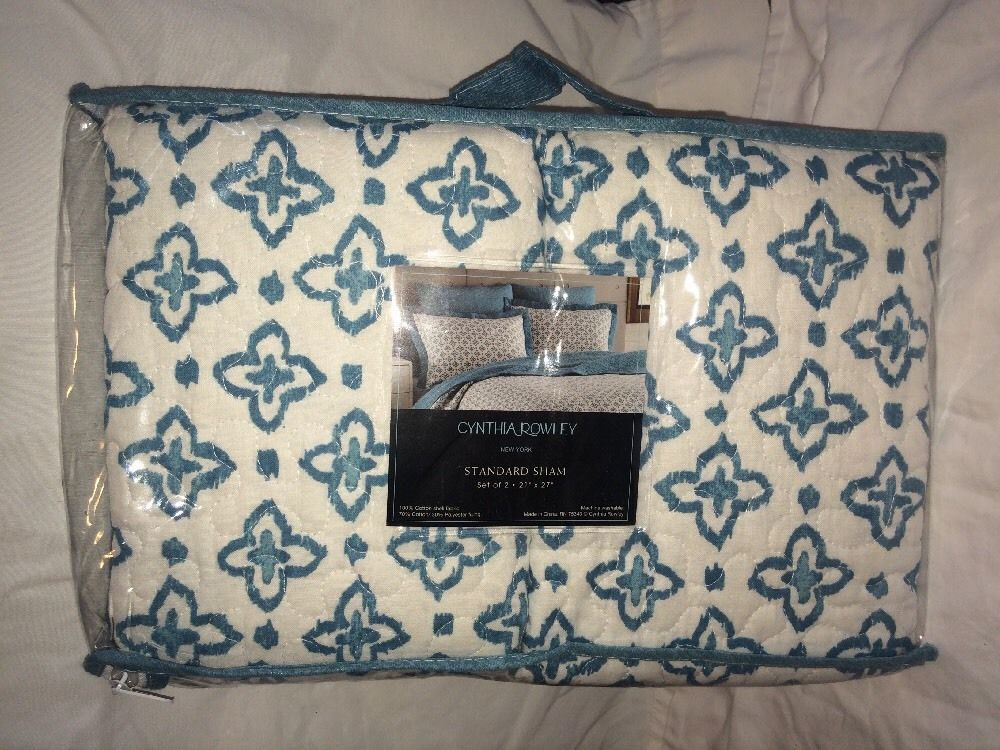 Cynthia Rowley Standard Sham Set 2 Aqua Blue White New Bedding 21 X27 Pillow Ebay Quilted Pillow House Quilts Pillows