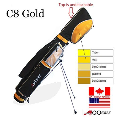 C8 A99 Golf Stand Range Sunday Bag Carry Pencil Gold Black