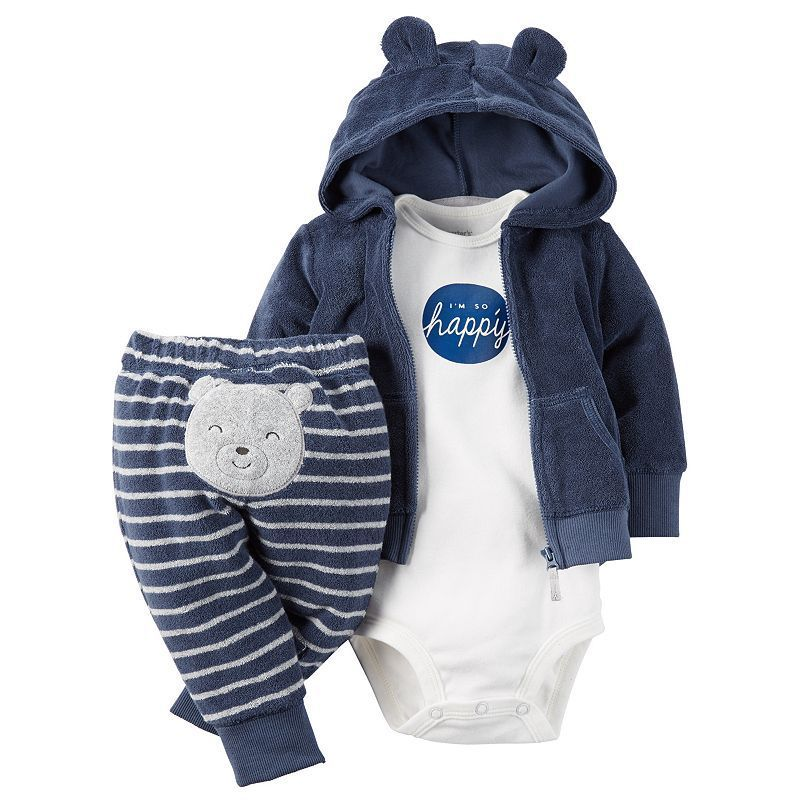 Baby Boy Carter's 3-pc. Hooded Cardigan & Pants Set, Size: 3 Months, Med Blue