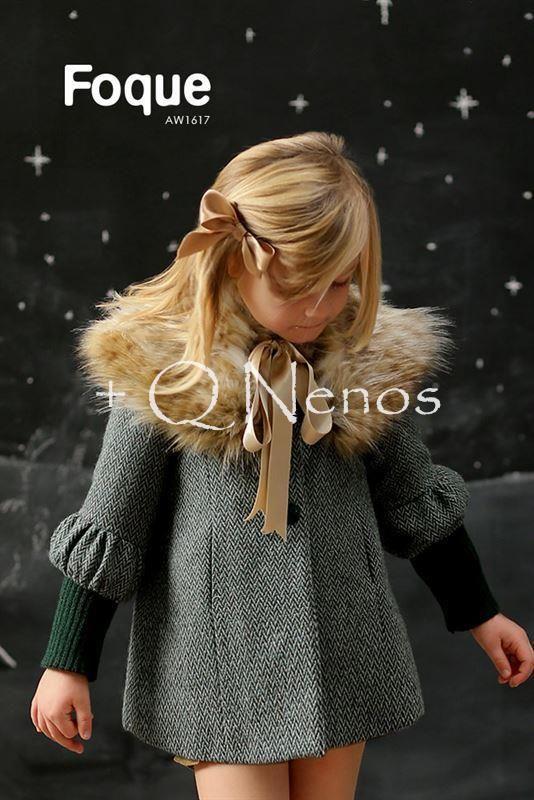 Abrigo Foque Niña Espiga Cuello Pelo Puños Verde F6850 Moda Para Niñas Moda Infantil Ropa