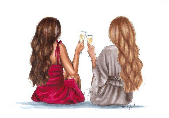 Best friends 2 best friends friendship print friend art | Etsy | Friends  illustration, Drawings of friends, Best friend drawings