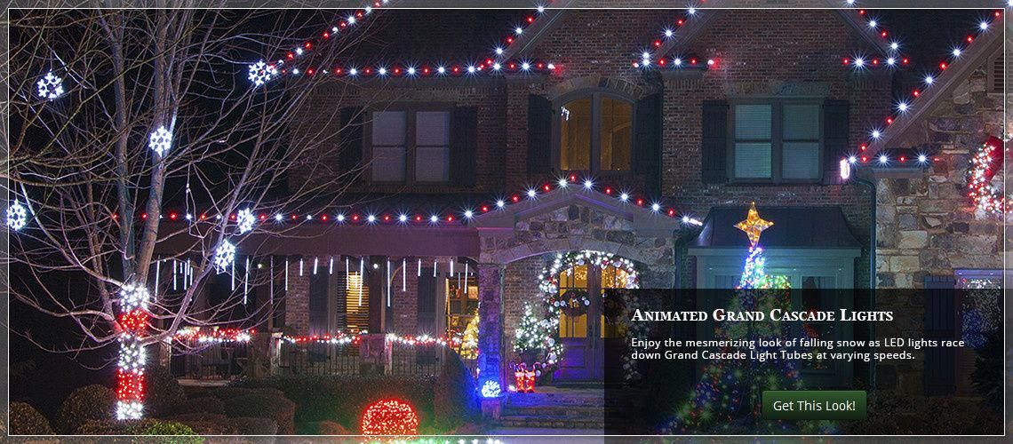 animated Christmas roof lights using grand cascade light tubes  #christmaslightsoutdoors - Animated Christmas Roof Lights Using Grand Cascade Light Tubes
