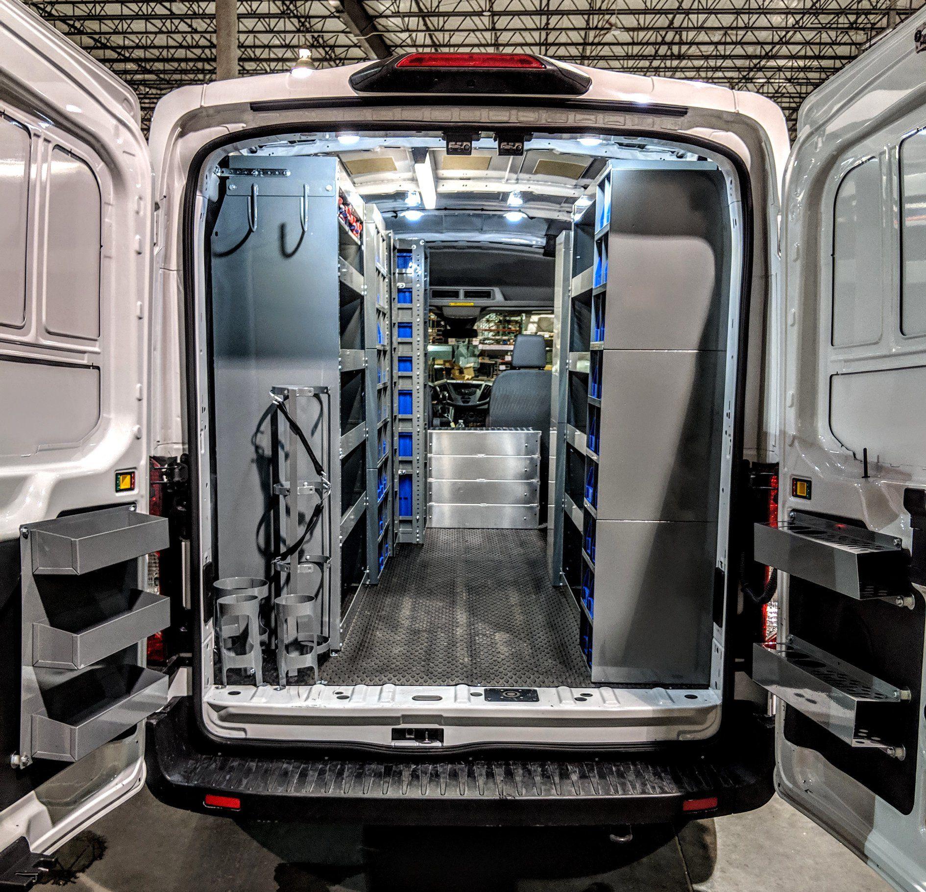Ford Transit Medium Roof 148 Wb Van Installation By American Van Equipment Work Truck Organization Van Organization Van Storage