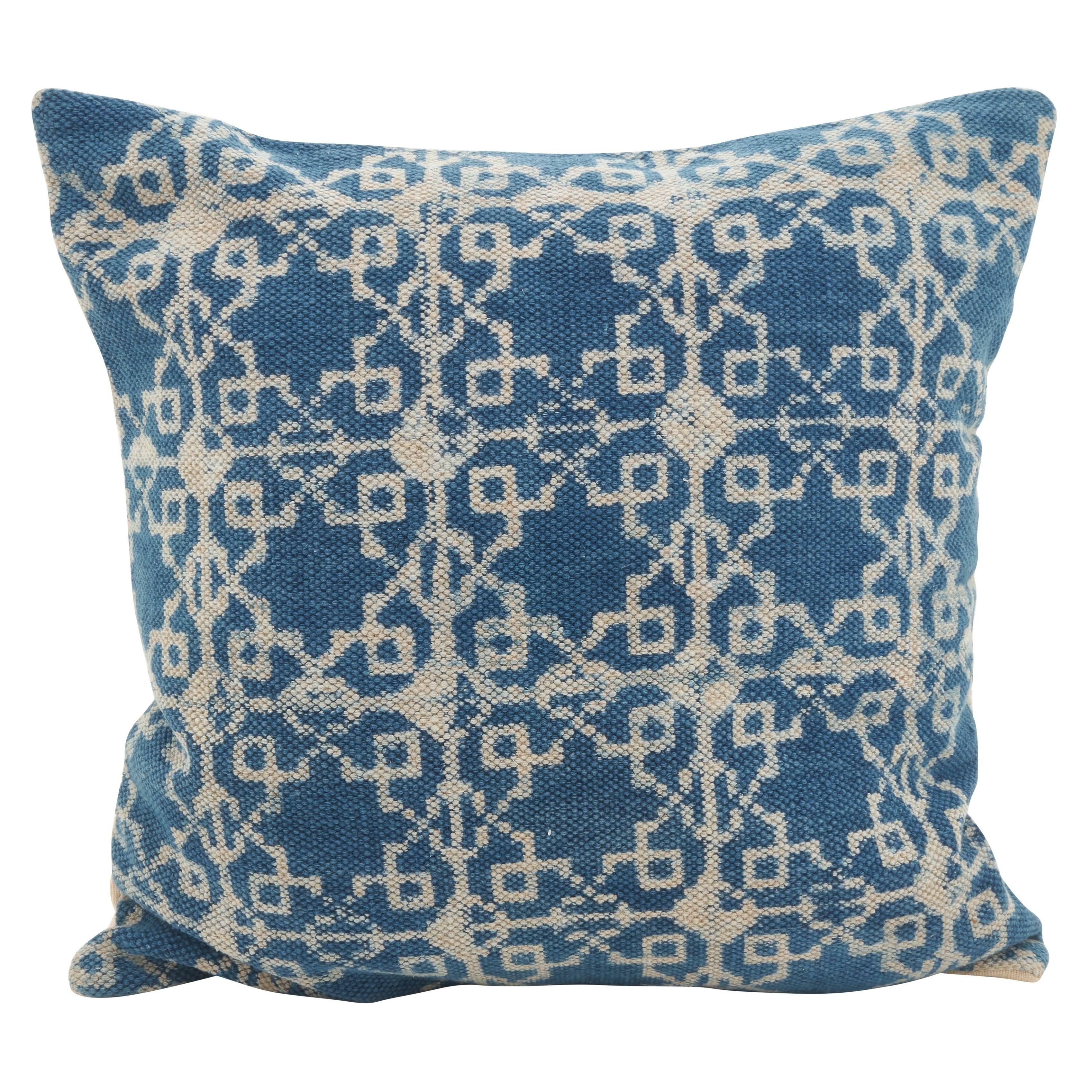 Distressed Diamond Boho Down Filled Throw Pillow, Blue, Saro Lifestyle(Cotton, Geometric)