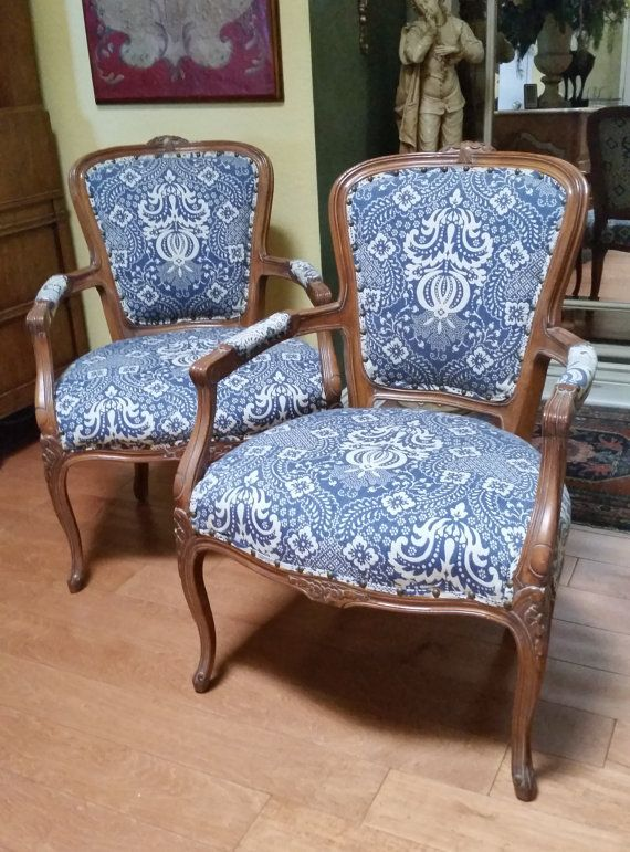 Pair Of French Style Upholstered Arm Accent Chairs Price Is For 2
