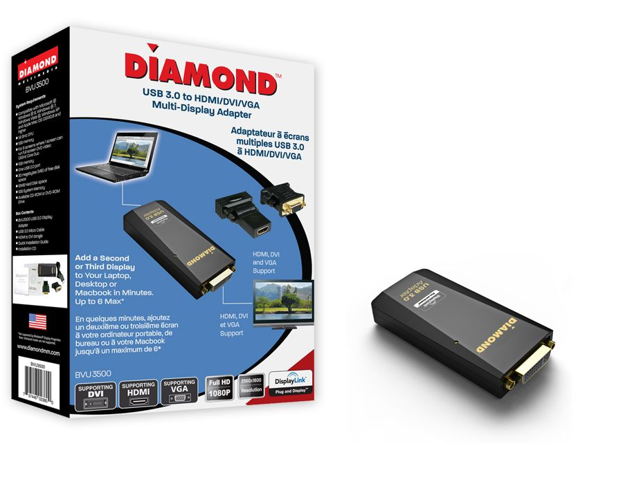 The Diamond BVU3500 USB 3 0 to DVI/HDMI/VGA adapter allows