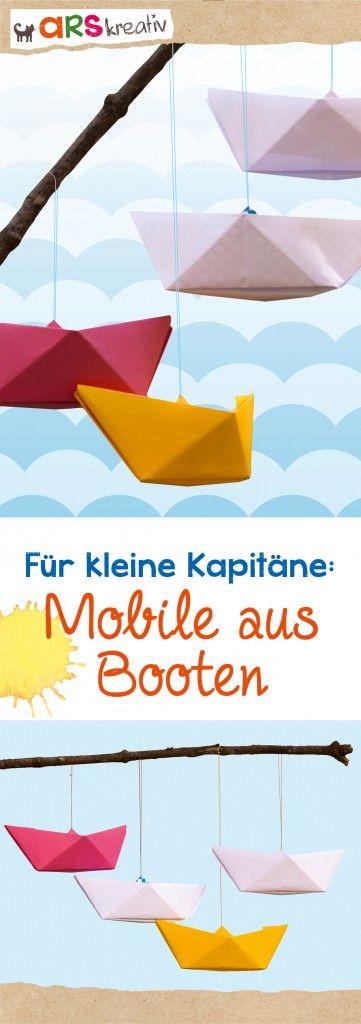 Für kleine Kapitäne: Ein Mobile aus Booten #Bastelanleitung #arskreativ