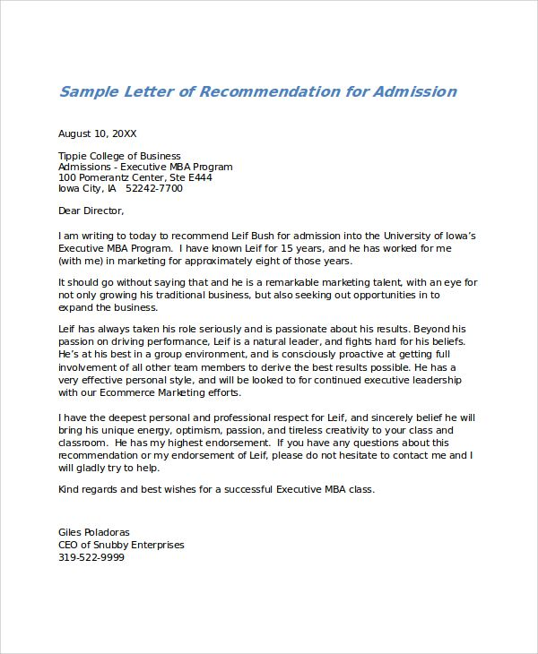 Letters Of Recommendation Examples Check more at