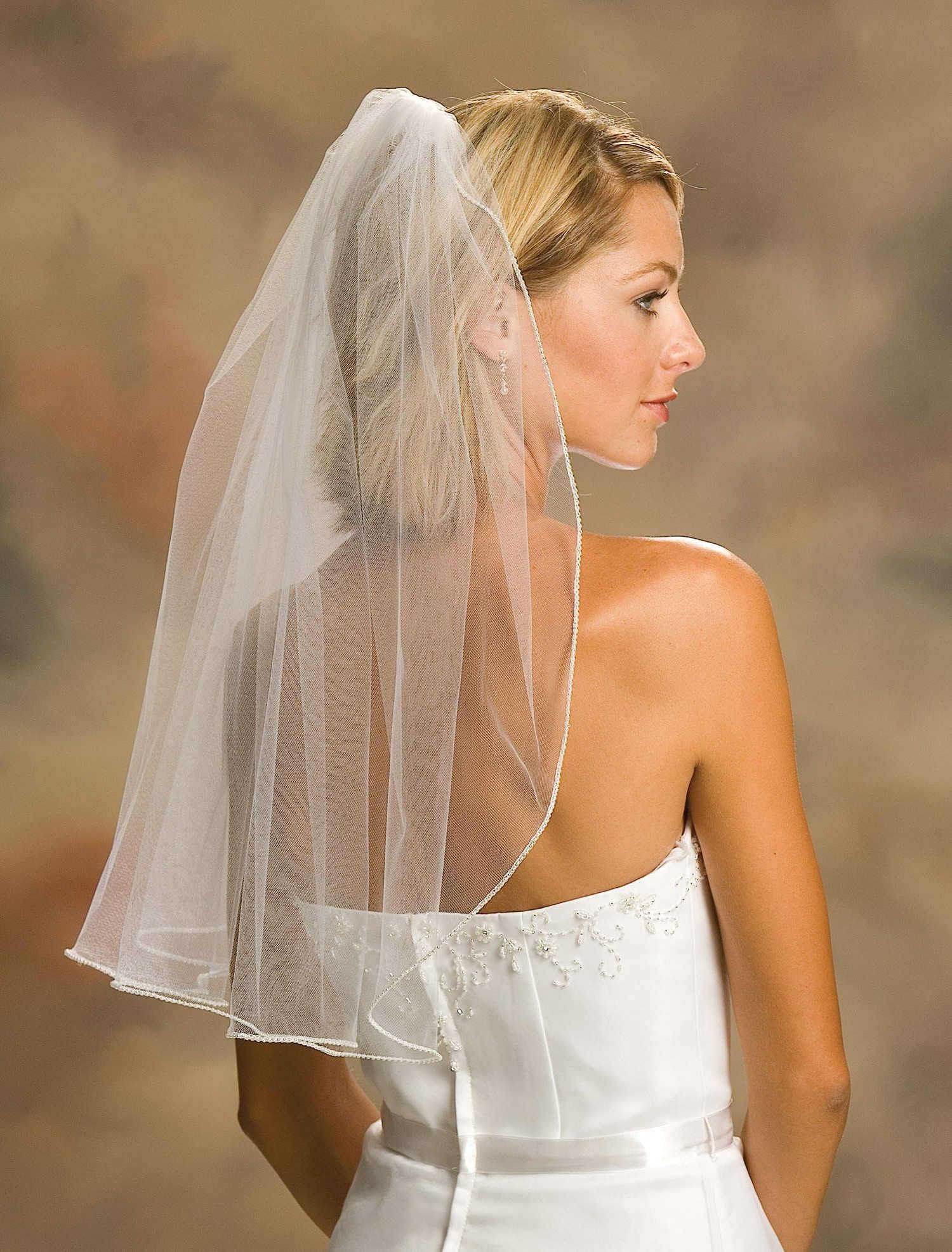wedding+veils |  elbow wedding veils pencil edge down hair