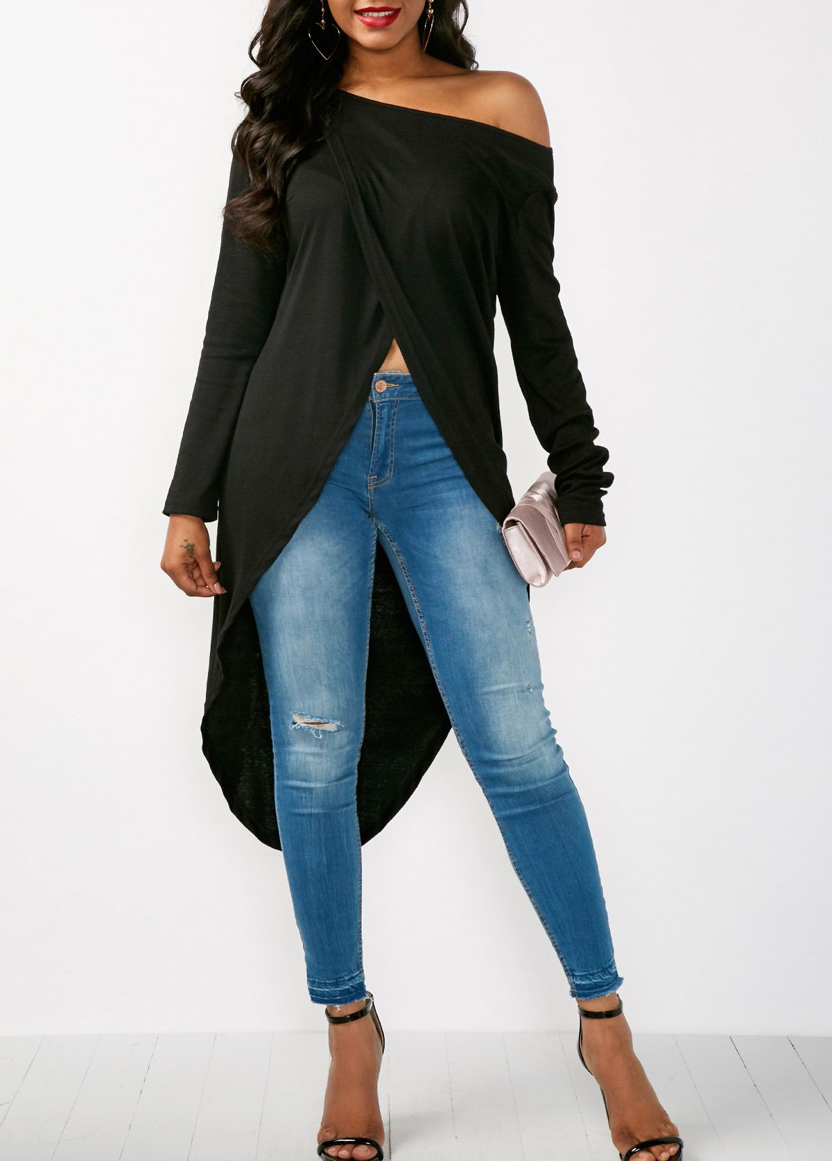 5c00c2c0243 Womens Fashion For Over 50. Classy and Sexy! Great look! Long Sleeve  Asymmetric Hem Skew Neck Blouse