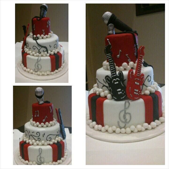 16th birthday cake red and black music CHANGE rock n roll to