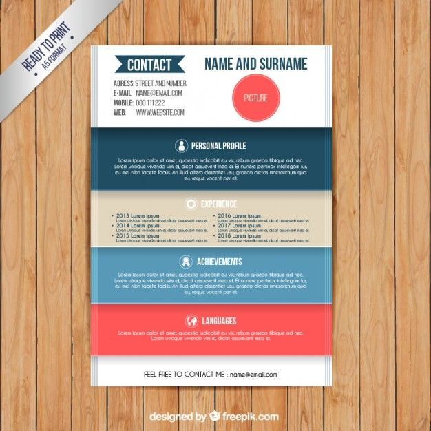 Colors Resume Template Free Vector  Cv    Colors