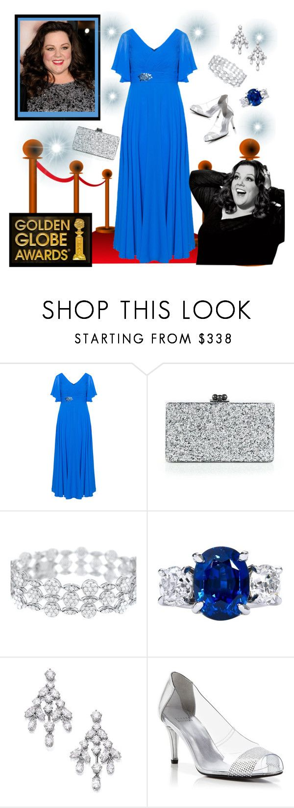 """Melissa McCarthy"" by krusie ❤ liked on Polyvore featuring Weise, Movado, Edie Parker, Harry Winston and Stuart Weitzman"