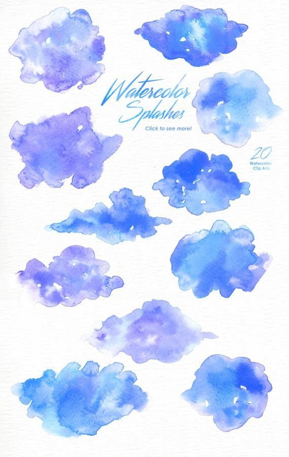 Blue Watercolor Splashes Clipart, Hand painted, brush strokes, splodge, abstract watercolour, backgr