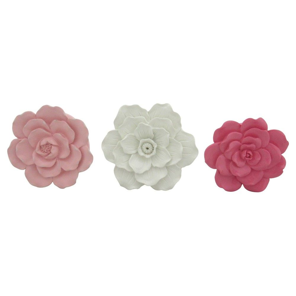 3 Pack Flower Wall Decor Pillowfort Pink Flower Wall Decor
