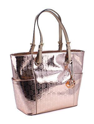Michael Kors Jet Set East West Signature Mirror Metallic Rose Gold Tote Bag New Ebay