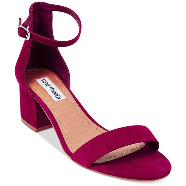 Steve Madden tempers the delicate ankle strap on these Irenee sandals with  a chunky, block heel in fashion-forward style.