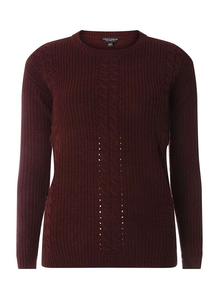373accd53db Dorothy Perkins Berry Cable Knit Front Jumper Size UK 20 LF180 EE 08   fashion  clothing  shoes  accessories  womensclothing  sweaters (ebay link)