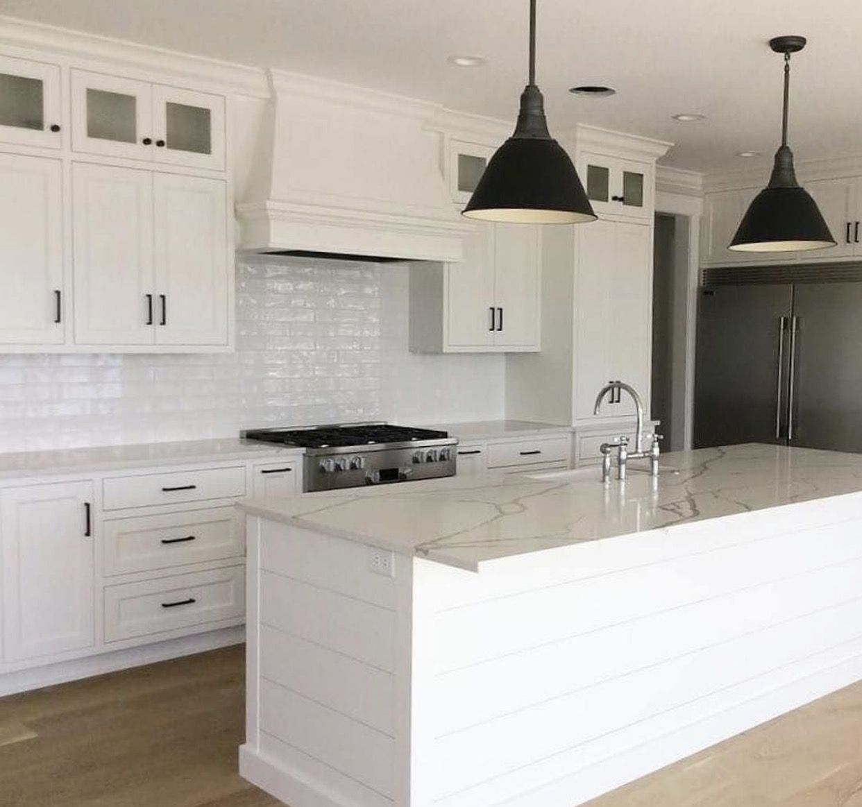 White Kitchen. Bronze Hardware. Subway Tile. Planks. | Kitchens ...